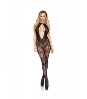 Leg avenue - bodystocking premium con scollo profondo in Nero Pizzo - Catsuit & Bodystocking