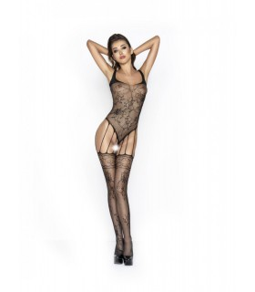 PASSION - bodystocking ricamato a Nero Rete - Catsuit & Bodystocking