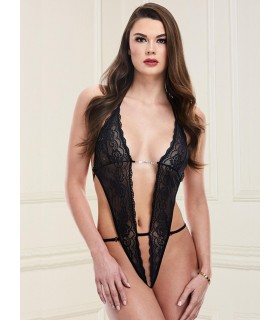 Body DEEP-V LACE TEDDY Nylon Nero